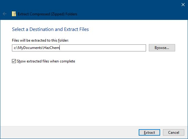 Screen capture of a Windows dialogue box with the Extract button indicated