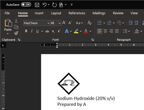 Screen capture of Microsoft Word with the HazChem font in use
